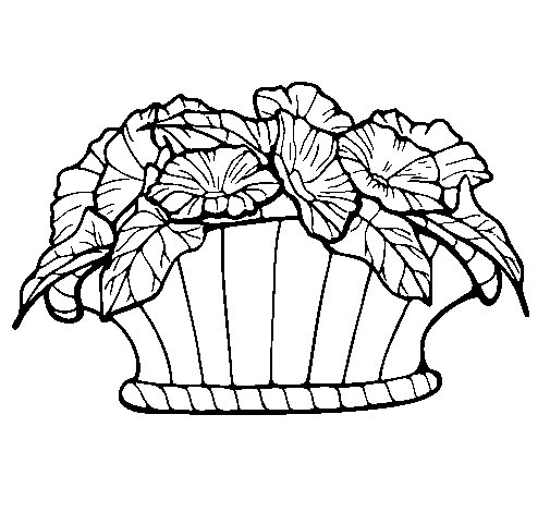 Basket of flowers 9 coloring page