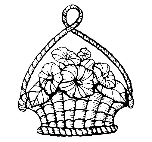 Basket of flowers coloring page