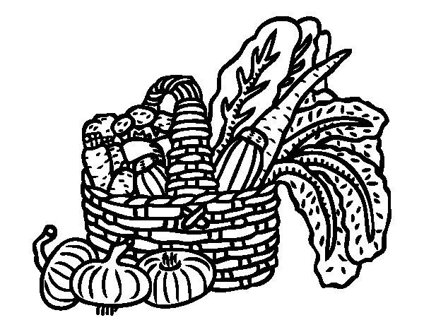 Basket of vegetables coloring page