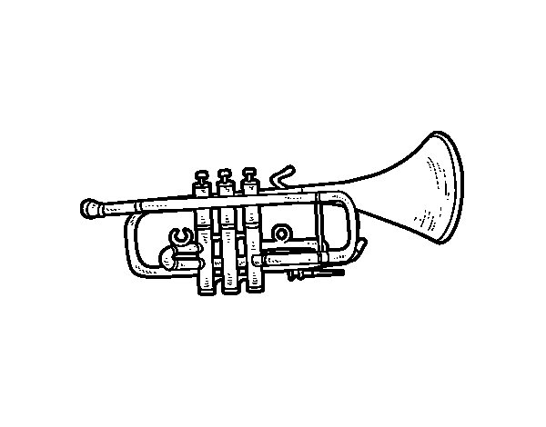 Bass trumpet coloring page