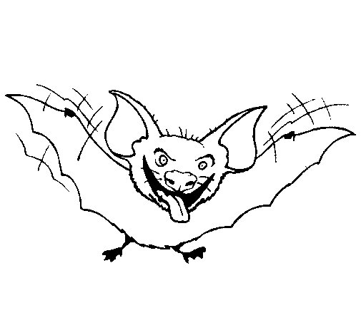 Bat sticking tongue out coloring page