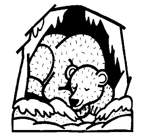 Bear hibernating coloring page