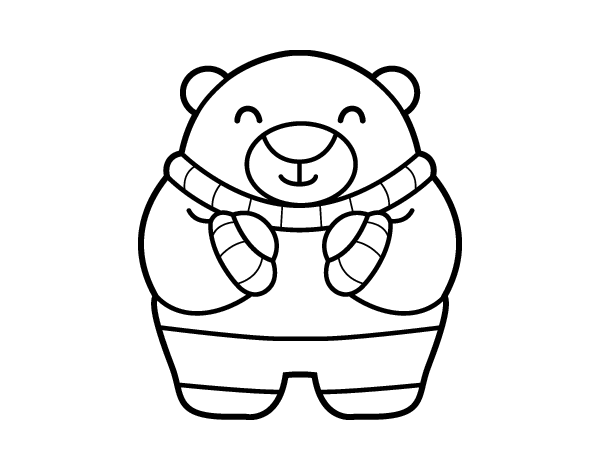 bear in winter coloring page. Black Bedroom Furniture Sets. Home Design Ideas