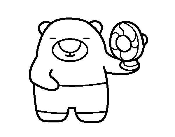 Bear with ventilator coloring page