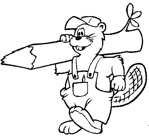 Beaver at work coloring page