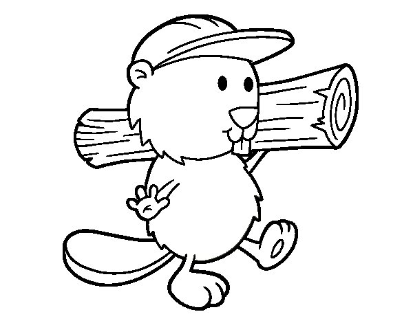 Beaver with cap coloring page