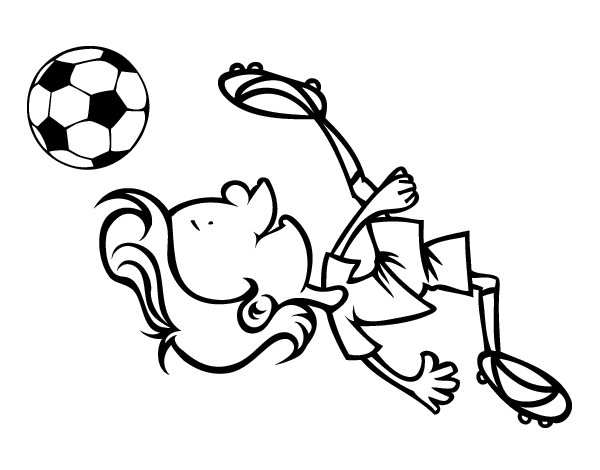 Dibujo De Jugador Chutando Para Colorear: Bicycle Kick Coloring Page