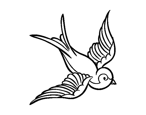 Bird tattoo coloring page
