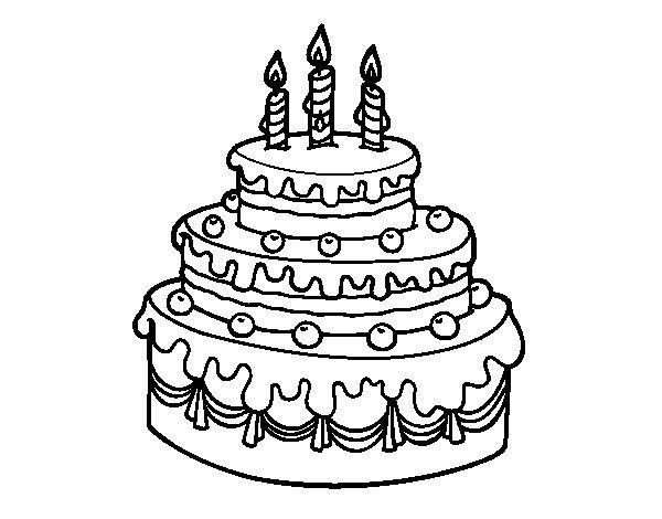 Birthday fruit tart coloring page