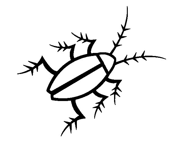 Black cockroach coloring page