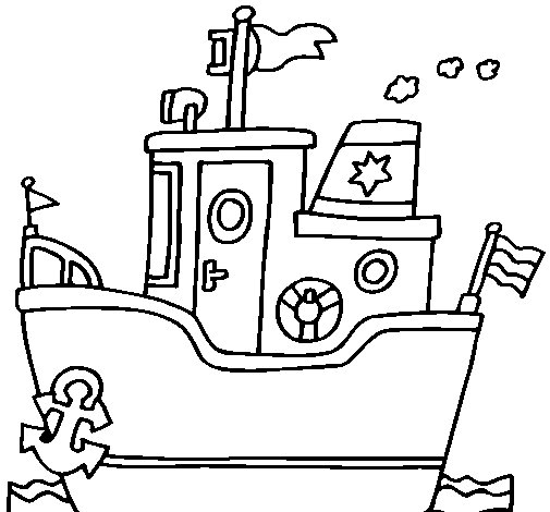 Boat with anchor coloring page