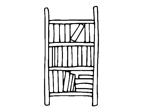 Bookcase Coloring Page