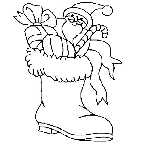 Boot full of presents coloring page