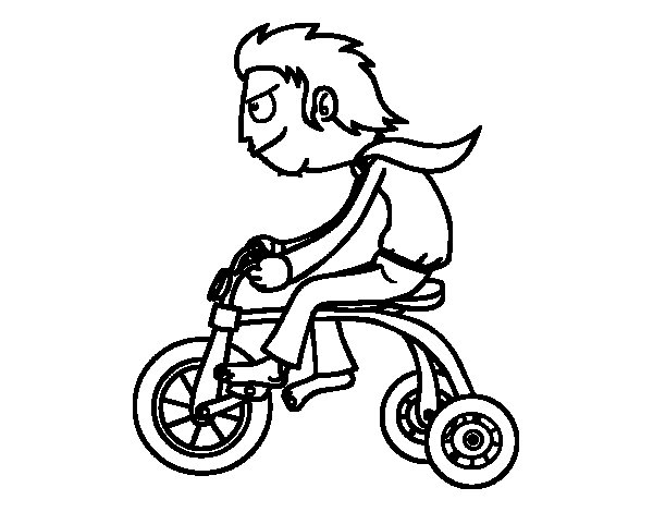 Boy in tricycle coloring page