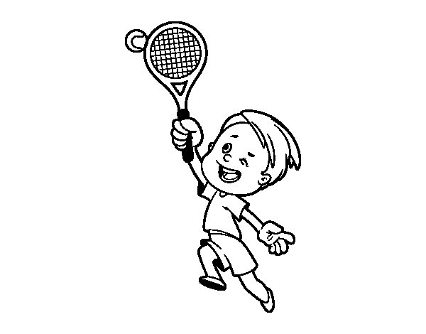 Boy playing tennis coloring page