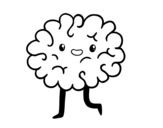 Brain kawaii coloring page