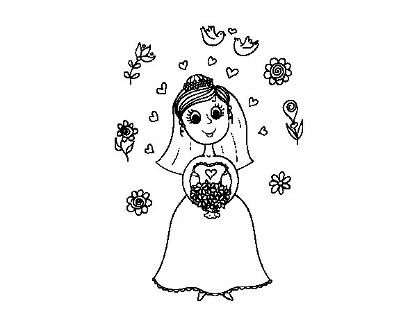 Bride with flowers coloring page