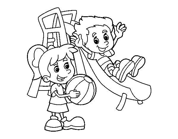 Brothers in the park coloring page