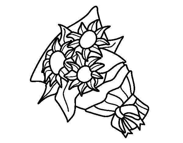 Bunch of sunflowers coloring page