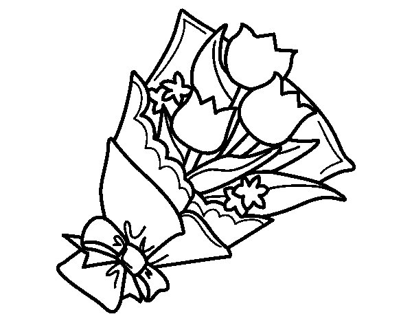 Bunch of Tulips coloring page