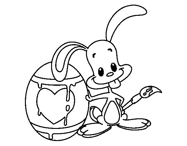 Bunny painting one egg coloring page