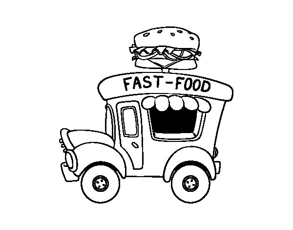 Burger food truck coloring page