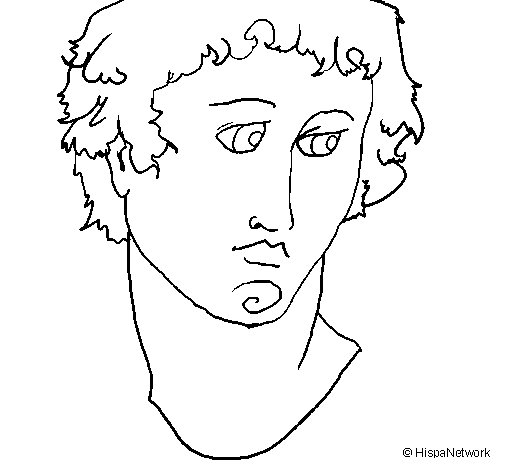Bust of Alexander the Great coloring page