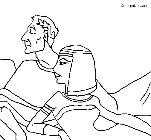 Caesar and Cleopatra coloring page