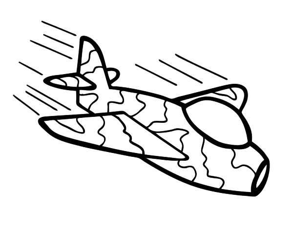 Camouflage airplane coloring page for Camo coloring pages