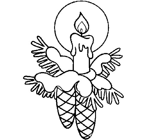 Candle and pine cones coloring page