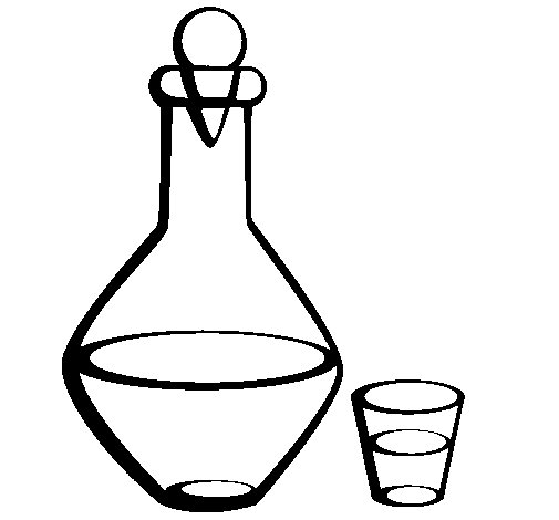 Carafe and glass coloring page