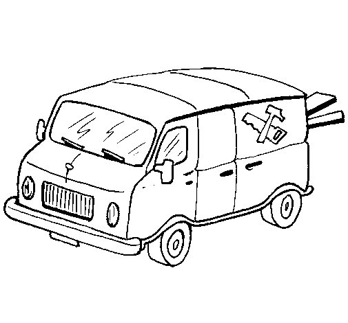 Carpenter's van coloring page