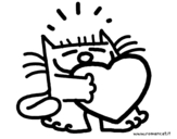 Cat and heart coloring page
