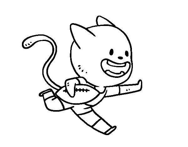 Cat rugby coloring page