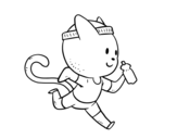 Cat runner coloring page