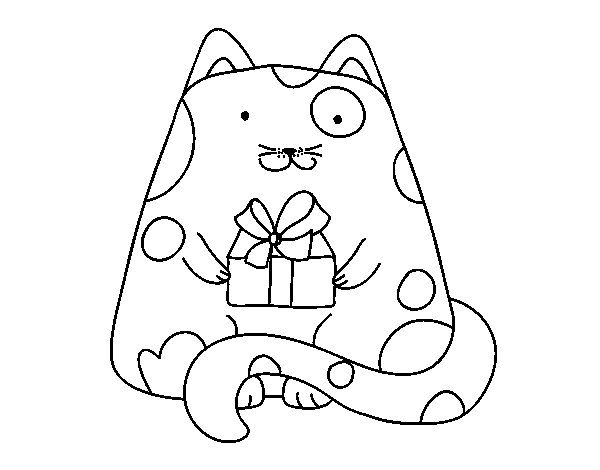 Cat with a present coloring page