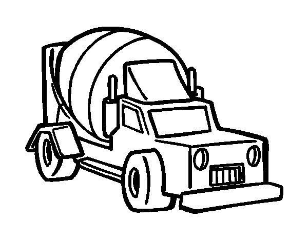 Cement mixer truck coloring page