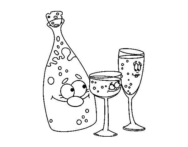 Champagne bottle and glasses coloring page