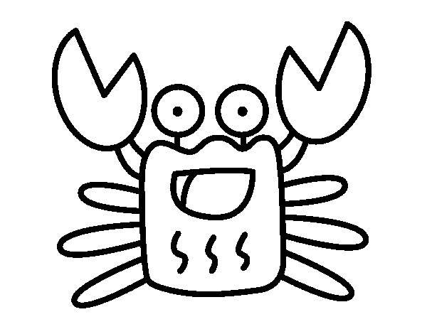 Cheerful crab coloring page
