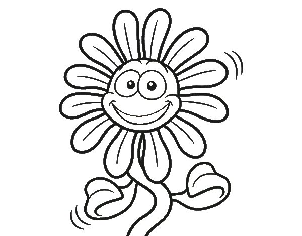 Cheerful flower coloring page