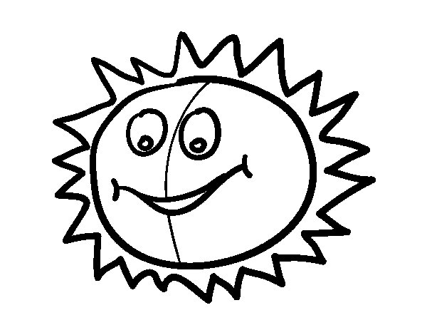 Cheerful sun coloring page