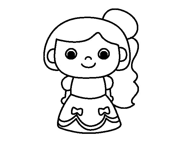 Cheery princess coloring page