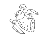 Chef Fish coloring page