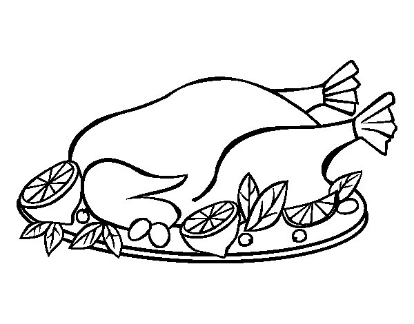 Chicken with garnish coloring page