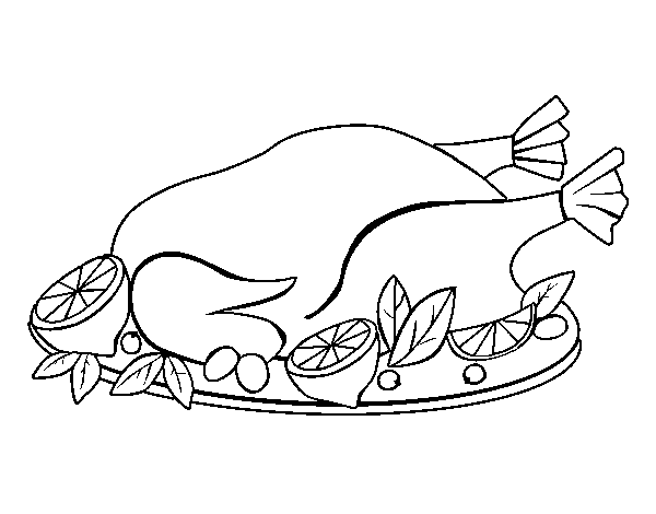Chicken with garnish coloring page Coloringcrewcom