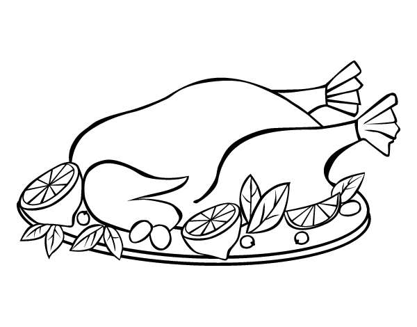chicken food coloring pages - chicken with garnish coloring page