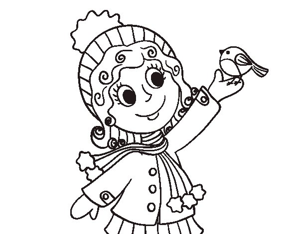 Child and bird in winter coloring page