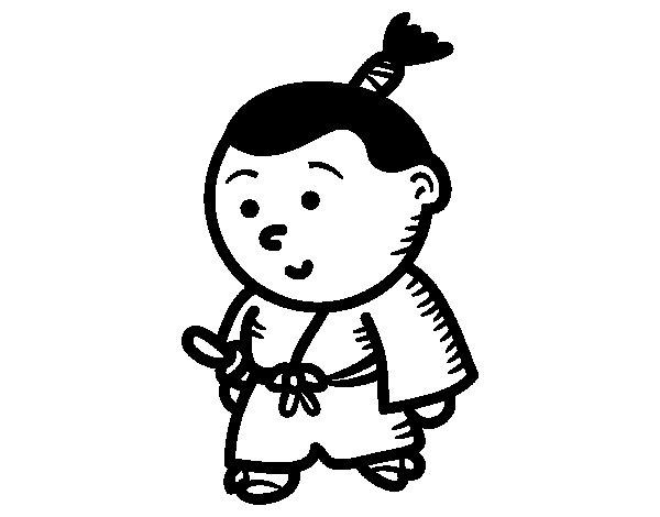 Child Samurai coloring page