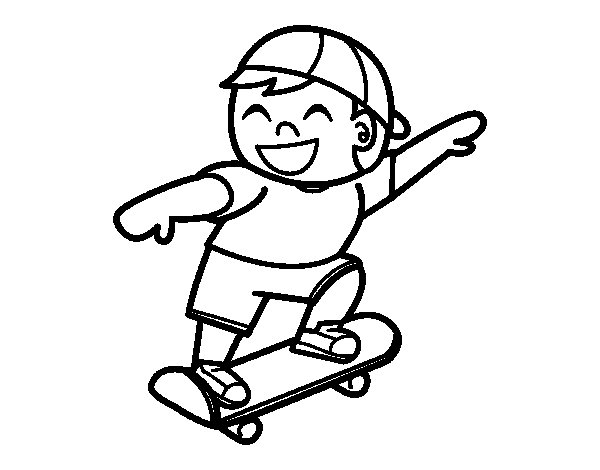 Child with skateboard coloring page