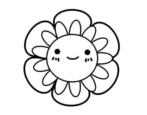 Childish flower coloring page